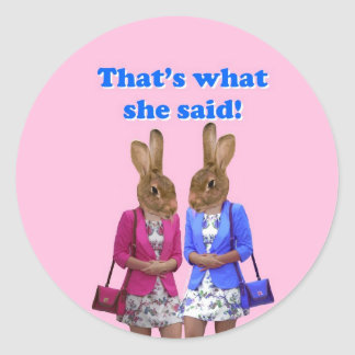 Funny that s what she said text round sticker