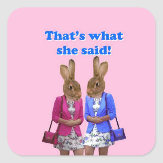 Funny that s what she said text square sticker