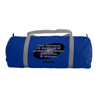 """Funny """"The Universe"""" custom name gym bags"""