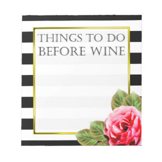 Funny Things To Do Before Wine Notepad