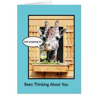 Funny Thinking of You, Cute Giraffe Through Window Card