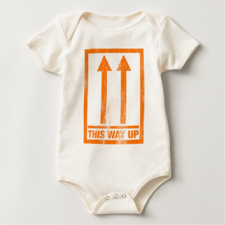 Funny this way up sign baby bodysuit