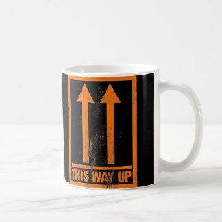Funny this way up sign coffee mug