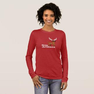 Funny Thug Life Christmas Reindeer Xmas red Long Sleeve T-Shirt