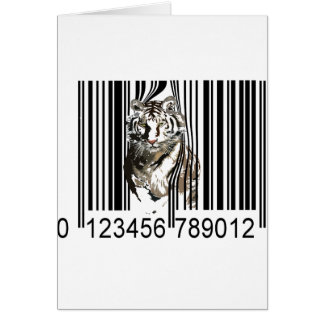 Funny tiger barcode vector card