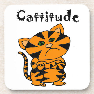 Funny Tiger Cat with Atitude Beverage Coaster
