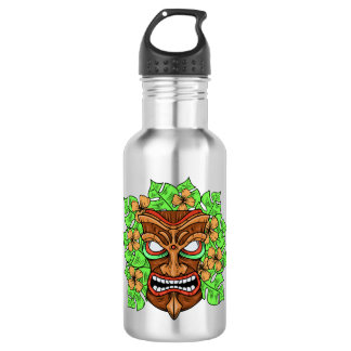 Funny Tiki Mask custom name water bottles