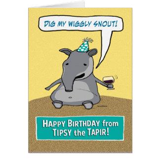 Funny Tipsy the Tapir Birthday Card