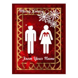 Funny toilet sign santa  christmas postcard