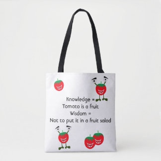 Funny tomato monster fruit with quotes tote bag