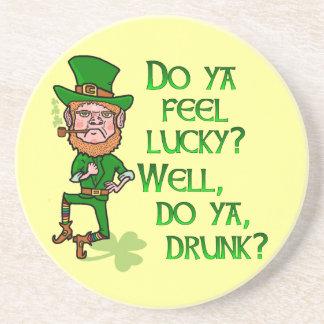 Funny Tough Lucky Drunk Leprechaun Drink Coasters