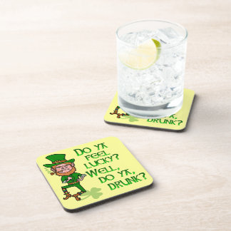 Funny Tough Lucky Drunk Leprechaun Coaster