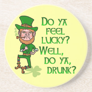 Funny Tough Lucky Drunk Leprechaun Drink Coasters