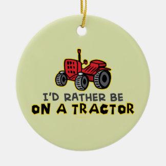 Funny Tractor Ceramic Ornament