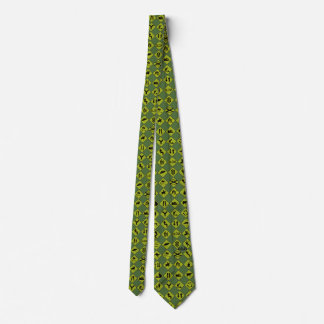 Funny traffic signs - green, black & Yellow Tie