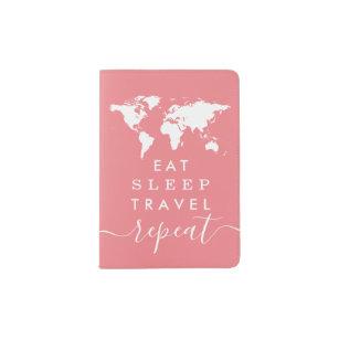 Funny Travel Eat Sleep Repeat Custom Colour Passport Holder