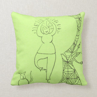 Funny Tree Pose Woman Pillows