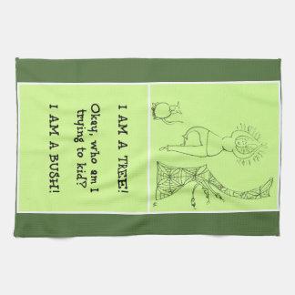 Funny Tree Pose Woman Tea Towel