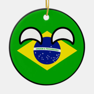 Funny Trending Geeky Brazil Countryball Ceramic Ornament