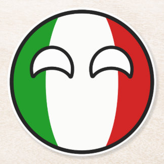 Funny Trending Geeky Italy Countryball Round Paper Coaster
