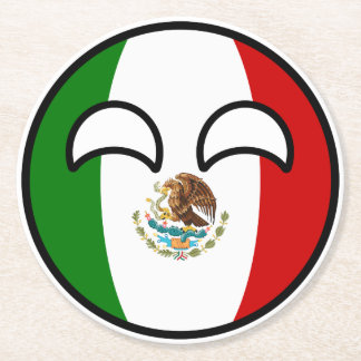 Funny Trending Geeky Mexico Countryball Round Paper Coaster