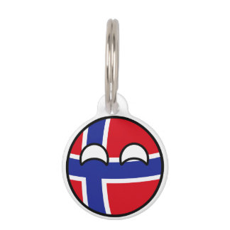 Funny Trending Geeky Norway Countryball Pet ID Tag