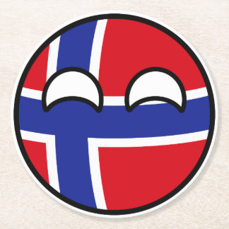 Funny Trending Geeky Norway Countryball Round Paper Coaster
