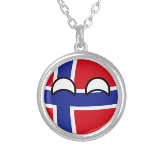 Funny Trending Geeky Norway Countryball Silver Plated Necklace