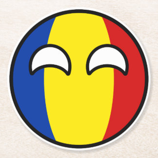 Funny Trending Geeky Romania Countryball Round Paper Coaster