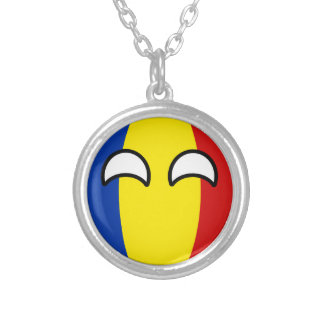 Funny Trending Geeky Romania Countryball Silver Plated Necklace
