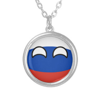 Funny Trending Geeky Russia Countryball Silver Plated Necklace