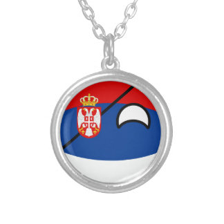 Funny Trending Geeky Serbia Countryball Silver Plated Necklace