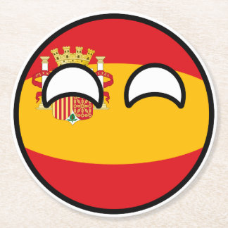 Funny Trending Geeky Spain Countryball Round Paper Coaster