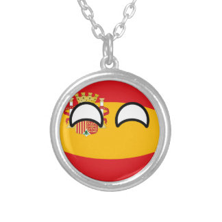 Funny Trending Geeky Spain Countryball Silver Plated Necklace