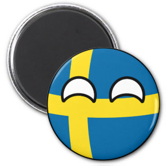 Funny Trending Geeky Sweden Countryball 6 Cm Round Magnet