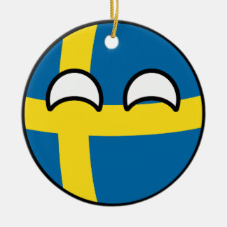 Funny Trending Geeky Sweden Countryball Ceramic Ornament