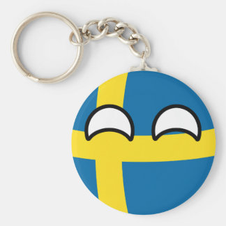 Funny Trending Geeky Sweden Countryball Key Ring