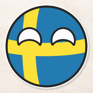 Funny Trending Geeky Sweden Countryball Round Paper Coaster