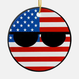 Funny Trending Geeky USA Countryball Ceramic Ornament