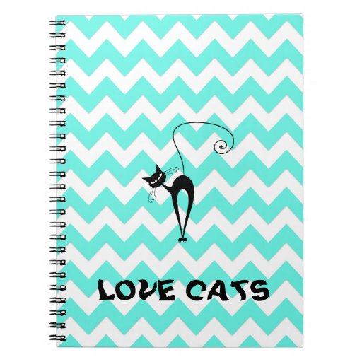 Funny trendy chevron love cats notebook