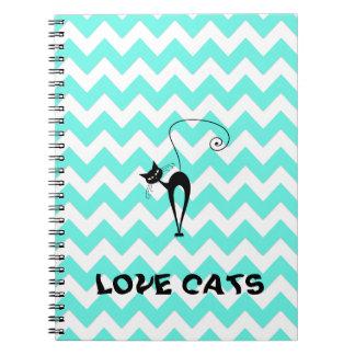Funny trendy chevron love cats notebooks