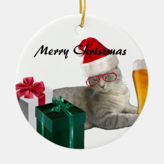 Funny trendy Christmas Santa cat with beer Ceramic Ornament