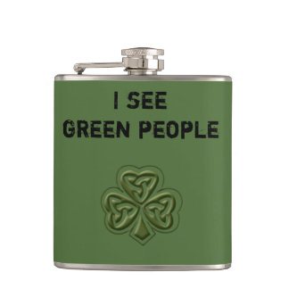 Funny trendy green Irish lucky shamrock joke Flasks