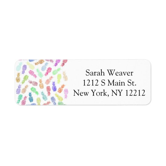 Funny Trendy Hipster Watercolor Pineapples Return Address Label