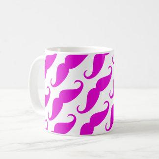 Funny trendy pink neon mustache pattern coffee mug