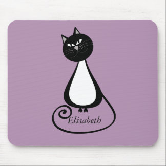 Funny trendy whimsical cartoon cat personalized mouse pad