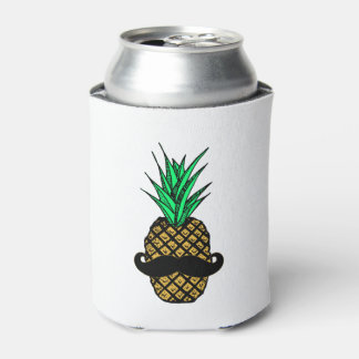 Funny Tropical Pineapple with Mustache Can Cooler