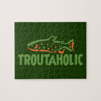 Funny Trout Fishing Troutaholic Jigsaw Puzzle