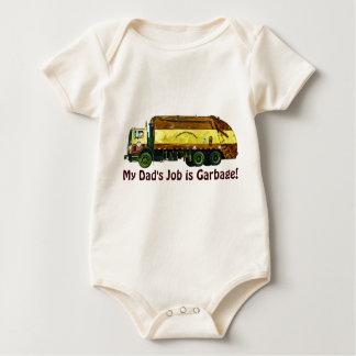 Funny Trucker Baby My Dad's Job is Garbage Baby Bodysuit