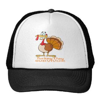 funny turkey day survivor turkey mesh hat